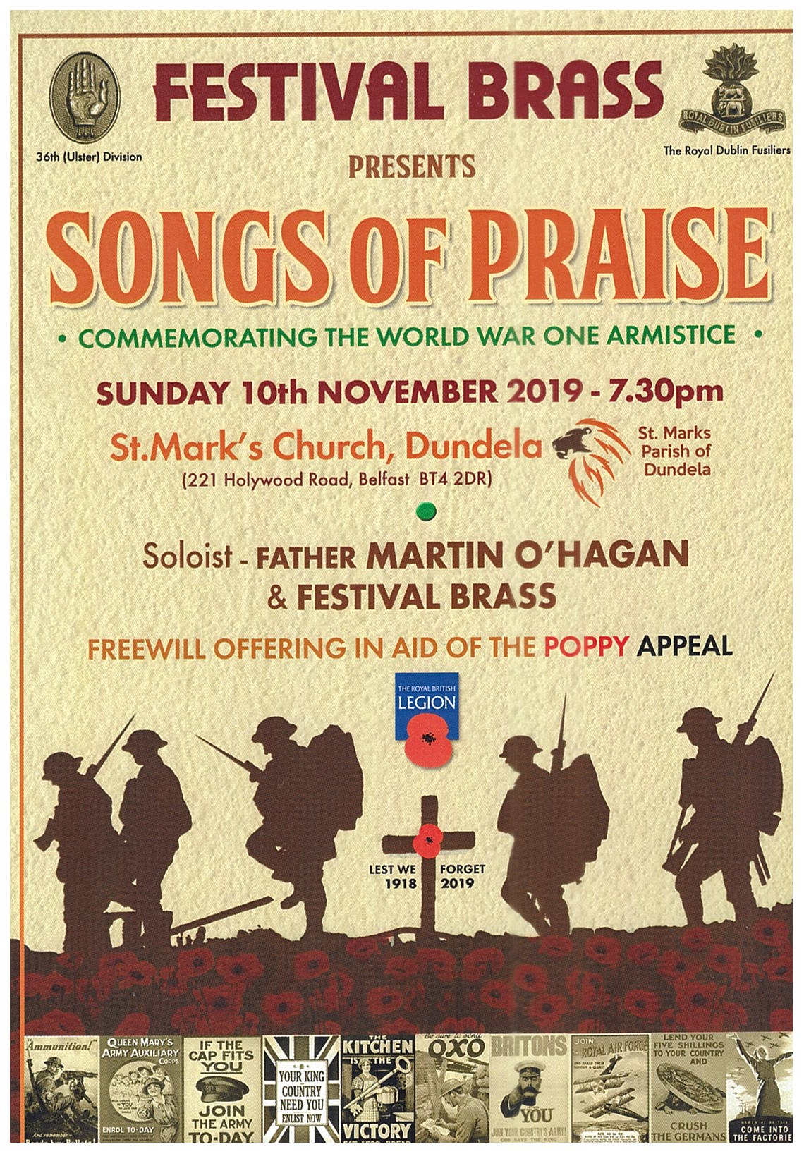 Festival Brass present Songs of Praise to commemorate the World War one armistice in Saont Mark's Dundelas, Belfast on 10th November 2019